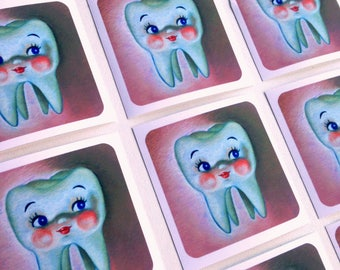 4 Cute Molar Teeth Vinyl Stickers Matt for laptop skateboard etc