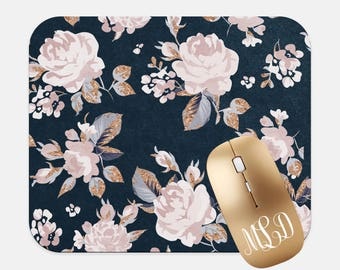 Navy Roses Rose Gold Mouse Pad Round or Rectangular