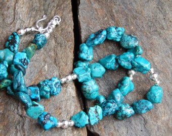Turquoise Nuggets and All Sterling Silver Handmade Necklace