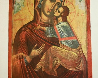 1976 Bulgarian Orthodox Icon Print Virgin Mary Christ