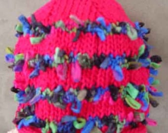 ELIZABETH SWEATERS Hand Knit Hot Pink Cotton Confetti Baby Girl Roll Cap XS