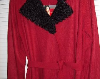 Vintage Gloria Vanderbilt Long Red Wrap Sweater Self-belt Crinkle Nubby Trim XL