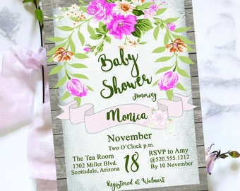 Digital Baby Shower Invitation - Pink Floral - Girl Baby Shower - Wood - Personalized - Printable