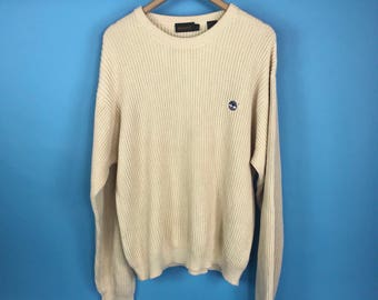 Timberland Cream Ribbed Sweater Jumper L