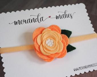 Large Felt Flower, Peach Rose, Orange Ombre Hair Bow for Baby or Girls, Handmade Wool Felt Hairbow Clip or Headband, Custom Made Felt Flower