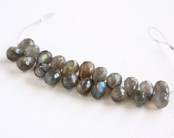 Flashy Labradorite Faceted Teardrop Beads 10x7mm to 13x7mm 3 inch strand 21 pcs Faceted Briolette Top Drilled Iridescent Gray Natural Stone