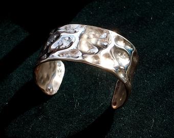 Molten Hammered Copper Bracelet, Cuff