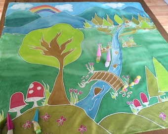 Spring Meadow Painted Silk Playmat, Painted playsilk, play silk, silk toy, play mat, handmade kids, spring kids, nature table,