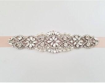 Bridesmaid Bridal Sash Belt - SILVER Crystal Pearl Wedding Sash Belt