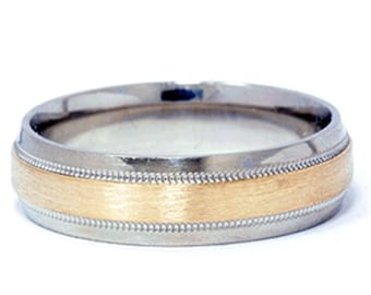 Hammered Wedding Ring Band Mens Two Tone 14K Gold Hammered Wedding Ring Band