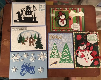 6 Christmas handmade greeting Cards with envelopes (snowman and winter theme)