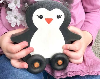 Wood penguin toy for toddlers