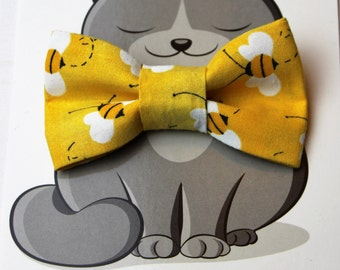 Bumble Bee Cat Bow Tie, Dog Bowtie, Cat Costume, Pet Bowtie, Collar Accessory, Handmade in Canada, Yellow, Summer