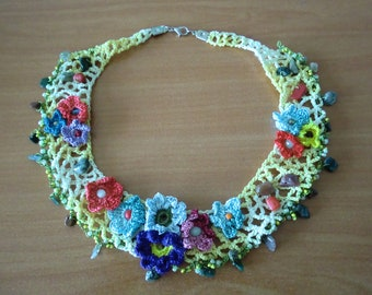 Soft yellow cotton necklace, Lots of semi precious stones Art Necklace Hand crocheted flowers
