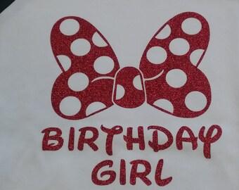 Anniversaire fille Glitter Sz chemise! SZ S-XL! Fait sur commande! Nouveau!!
