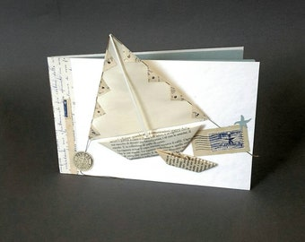 """PHOTO ALBUM """"Summer time"""". Hand made bound. 3D cover. Collage paper boat. Vintage paper. Holidays. Notebook."""