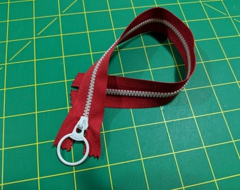 Red and white decorative zipper 30cm / nearly 12 inch #3 zip retro style zipper (white teeth)