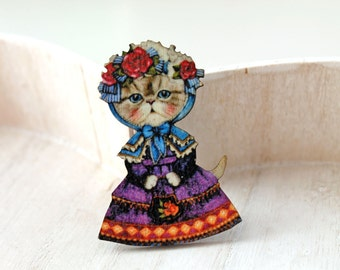 Cat Lady wooden brooch  wooden wood kawaii sweet lolita egl purple flower hat