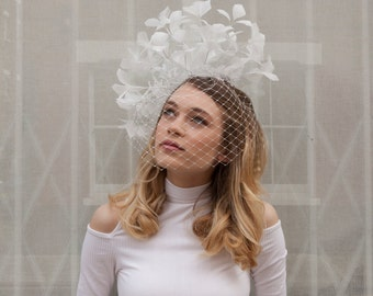 Ivory  Feather Wedding Headpiece and veil - Statement bridal headdress with birdcage veil - bridal hat - ivory fascinator with veil
