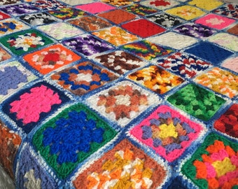 74 x 74 big bright colorful granny square blanket full double size hand crocheted afghan throw