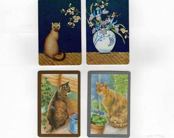 8 Vintage Playing Cards with Cats 2 of each design for ATCs, Tabby and Siamese