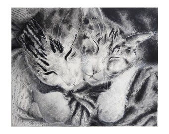 black and white cat lover by acrylic painting