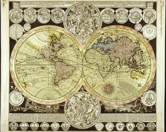 Historical maps, Antique world maps, Old world map, wall hanging,  #67, 1686