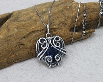 Blue Quartz Necklace Blue Stone Necklace Sterling Silver Heart Necklace Antique Necklace Bohemian Necklace Antique Jewelry Bohemian Jewelry
