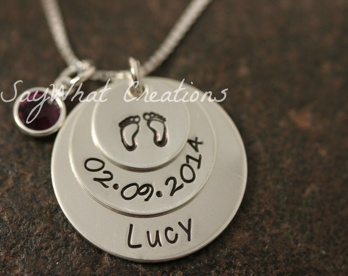 Custom Hand Stamped Three Disk Stacked Mothers Necklace Sterling Silver