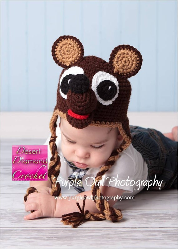 Teddy Bear Earflap Beanie Hat - Any Color Combo - Any Size