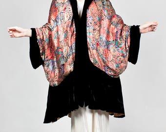 1920s Lame Cocoon Coat Art Deco Floral Design Silk Velvet Trim Museum Worthy