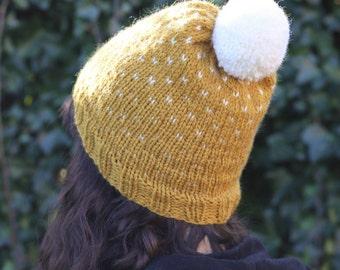 Hand Knit Winter Hat, Pom pom Fair Isle Beanie, Slouchy Hand Made Hat