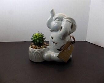 NEW Ceramic Hear No Evil Good Luck Elephant Figurine GC Naturals Potpourri Sachet Scent Holder & Faux Cactus Zen