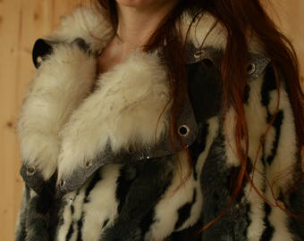 Elegant Glamorous Black And White Vintage Women's Faux Fur Gift for Her Size S, M