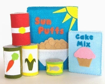 Felt Food Boxes and Canned Goods PDF Pattern
