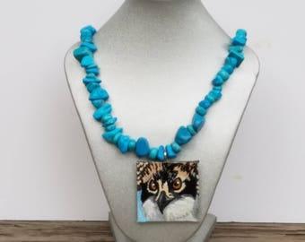 "Osprey ""Seahawk"" Painted Pendant Necklace, Raptor necklace, Bird of Prey Pendant, Wearable Art Jewelry, Seahawk Jewelry, Osprey jewelry"