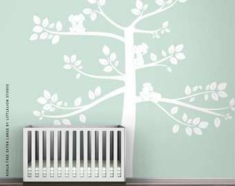 White Koala Tree Extra Large Wall Decal by LittleLion Studio