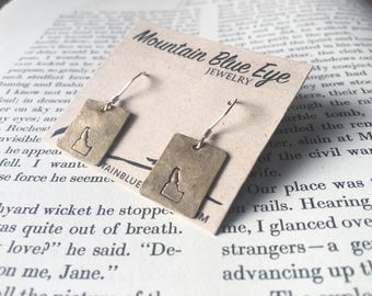 Brass and Sterling Silver Idaho Stamped Earrings