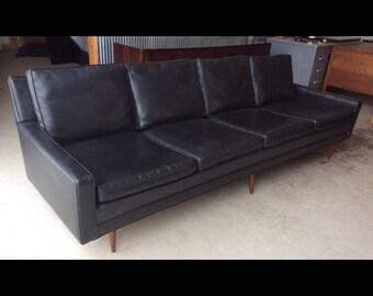Milo Baughman Thayer Coggin Black Vinyl Sofa