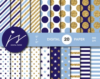 Blue gold glitter digital paper, Patterns, Backgrounds, Dark royal blue glitter gold digital scrapbooking, MI-761