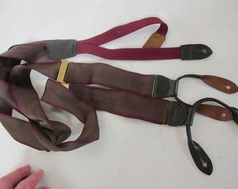 Cole Haan Suspenders Burgundy Hipster Suspenders Braces Black Leather