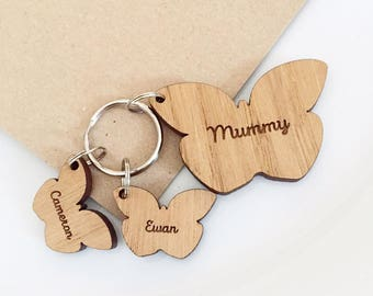 Personalised Wooden Charm Keyring, Personalised Keyring Gift, Wooden Keyring , Wooden Heart Keyring, Mum Gift, Keyring for Mum