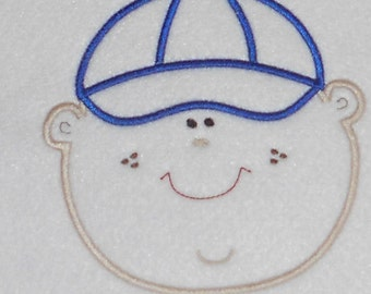 Instant Download Baby Boy with Cap Embroidery Machine Applique Design-921