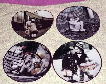 Set of 4 Vintage Ensesco Pretty as a Picture Porcelain Collector's Plates MINT