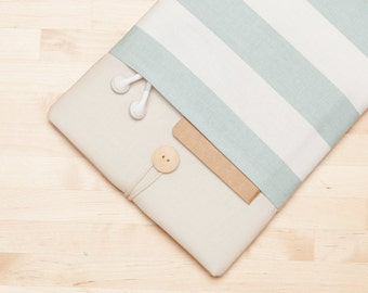 Laptop sleeve / 12 inch macbook case / macbook 11 cover / Laptop cover, padded with pockets  - Cream stripes -