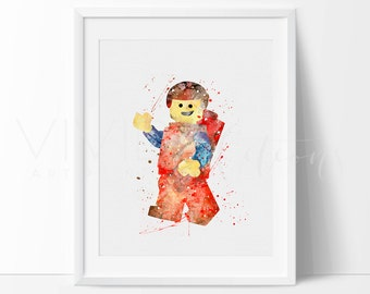 Lego Man Emmet Print, Nursery Art Print, Lego Watercolor Painting, Kids Bedroom Wall Art, Baby Shower Gift, Birthday Gift, Not Framed, No 72