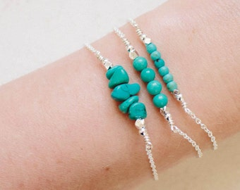 Turquoise bracelet. Gemstone bracelet bridesmaid gifts. Bohemian jewelry gifts for her. Beaded bracelet turquoise jewelry gift for mom.