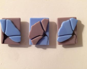 Purple and Blue Stained Glass Floral Kitchen Magnets Set of Three