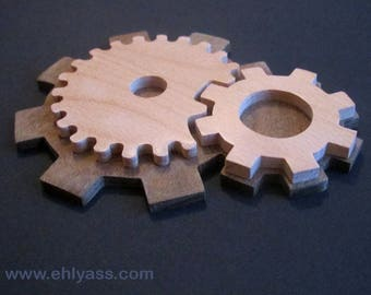 Wall sculpture Gears / cogs wooden beech and ipe (fretwork)