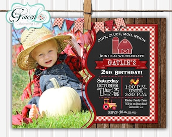 Barnyard, Barnyard Birthday, Barnyard Party, Farm Party, Farm Animals, Farm Birthday, Birthday Invitation, Barnyard Invitation, Chalkboard